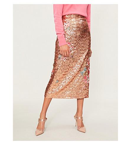 ERDEM Floral-embellished sequinned midi skirt (Peach/pink