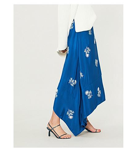 ERDEM Zora floral-embroidered silk-satin skirt (Blue/multi