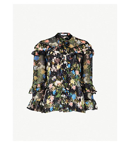 ERDEM Margery floral-print silk blouse (Black multi