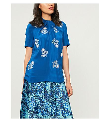 ERDEM Karola floral-embroidered silk-satin top (Blue multi