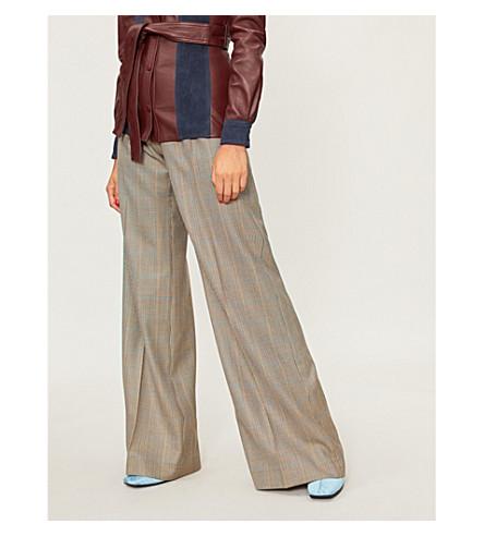 ERDEM High-rise wide-leg stretch-cotton trousers (Camel/blue
