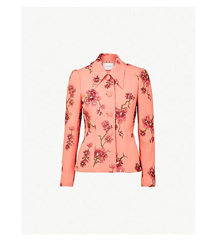 ERDEM Floral-embroidered satin skirt (Peach/burgundy