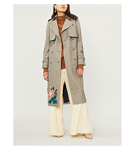 ERDEM Maurice floral-embroidered checked wool trench coat (Camel/blue