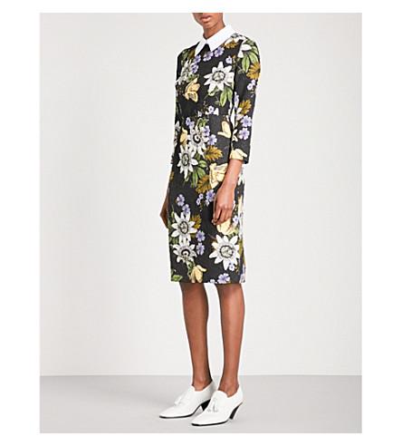 ERDEM Viv floral-print matelassé dress (Black+/+multi