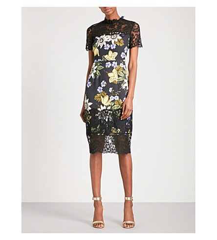 ERDEM Keni floral-lace and cady dress (Black+/+multi