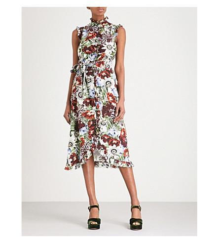 ERDEM Sebla sleeveless silk-crepe de chine dress (White+/+multi
