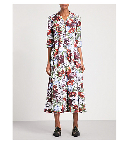ERDEM Kasia floral-print cotton-poplin midi dress (White+/+multi