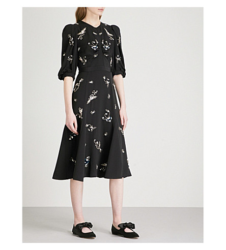 ERDEM Esmeralda fit-and-flare silk dress (Black/silver