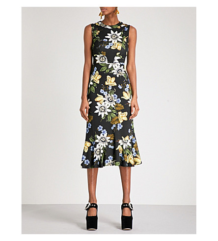 ERDEM Grazia sleeveless jersey dress (Black+/+multi