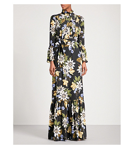 ERDEM Stephanie ruffled silk-crepe de chine gown (Black+/+multi