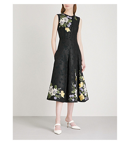 ERDEM Yasmine sleeveless jacquard midi dress (Black/+multi
