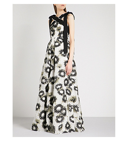 ERDEM Oliveria floral jacquard gown (White+/+black
