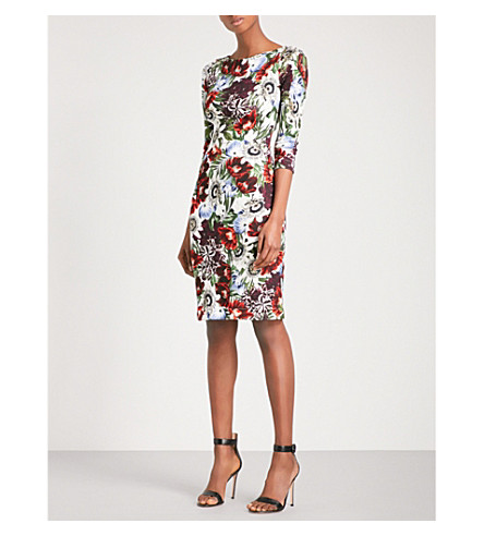 ERDEM Reese floral-print ponte-jersey dress (White+/+multi
