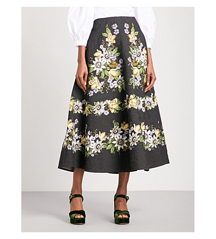 ERDEM Tiani high-rise matelasse midi skirt (Black+/+multi