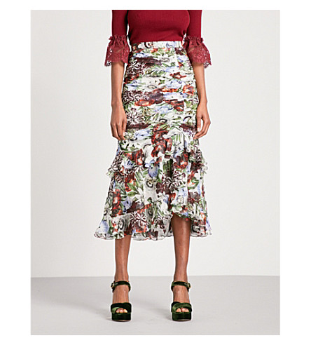 ERDEM Josi high-rise silk-voile midi skirt (White+/+multi