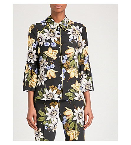 ERDEM Aran silk-crepe de chine shirt (Black+/+multi