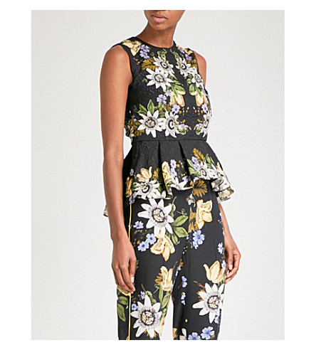 ERDEM Queenie sleeveless jacquard top (Black+/+multi