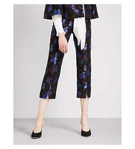 ERDEM Syrah floral tapered jacquard trousers (Black+/+multi