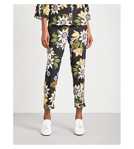 ERDEM Ginnie cropped mid-rise silk-crepe de chine trousers (Black+/+multi