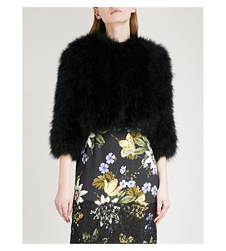 ERDEM Ivett feather jacket (Black