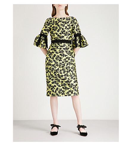 ERDEM Floral jacquard midi dress (Yellow/black