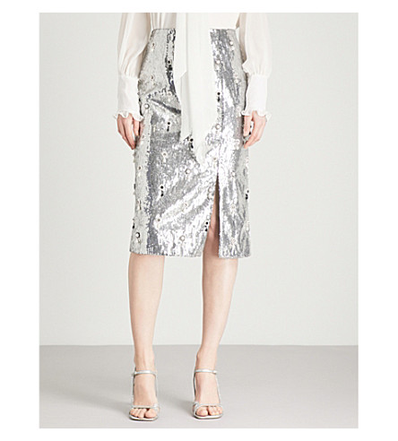 ERDEM Tahira sequinned pencil skirt (Silver