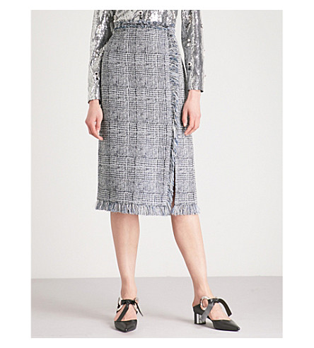 ERDEM Tahira checked woven pencil skirt (Blue