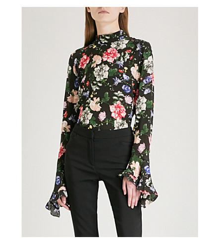 ERDEM Lindsey floral-print silk top (Black/multi