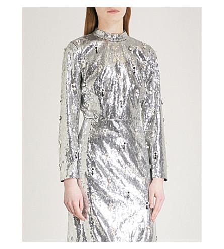 ERDEM Tonya sequinned top (Silver