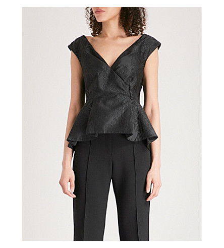 ERDEM Jio floral-embroidered woven top (Black