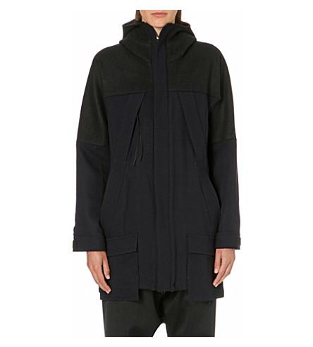 YOHJI YAMAMOTO Hooded wool coat (Black