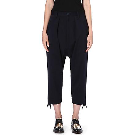 YOHJI YAMAMOTO Drawstring cuff trousers (Navy