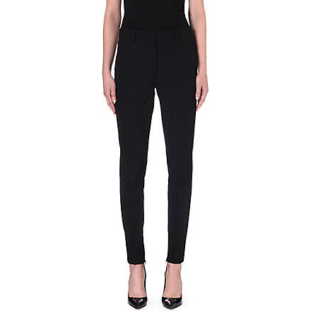 VICTORIA BECKHAM Tapered mid-rise wool trousers (Black