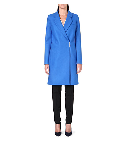 VICTORIA BECKHAM Wrap-style wool-blend coat (Bluette