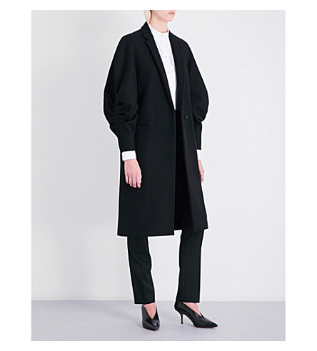 VICTORIA BECKHAM Draped raglan-sleeve wool coat (Black