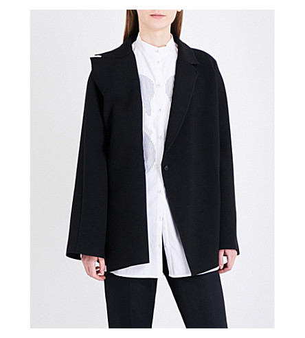 VICTORIA VICTORIA BECKHAM Self-tie woven wrap jacket (Black