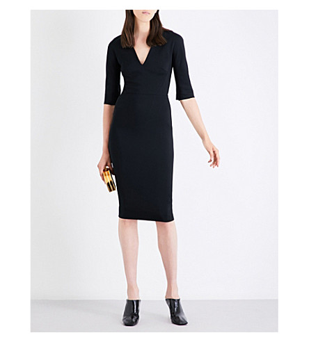 VICTORIA BECKHAM V-neck woven dress (Black
