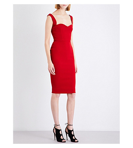 VICTORIA BECKHAM Curve Cami Fitted stretch-crepe dress (Red