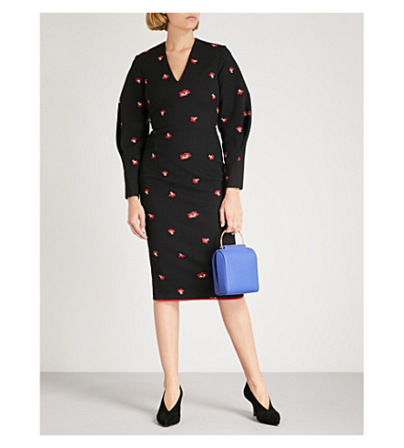 VICTORIA BECKHAM Floral-pattern draped-sleeve fitted cotton-blend dress (Black-red