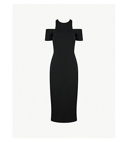 VICTORIA BECKHAM Cold-shoulder fitted woven dress (Black