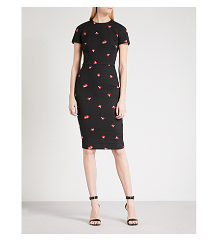 VICTORIA BECKHAM Fitted floral-jacquard dress (Black-red