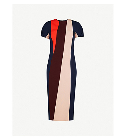 VICTORIA BECKHAM Striped fitted woven dress (Multi
