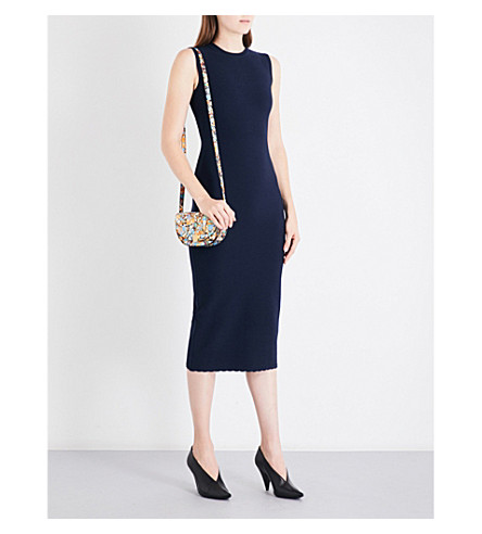 VICTORIA BECKHAM Scalloped-hem fitted wool-blend dress (Navy