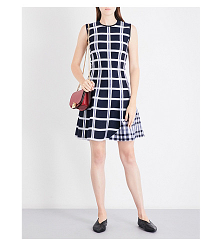 VICTORIA BECKHAM Checked fit-and-flare wool-blend dress (Navy/white/navy+shine