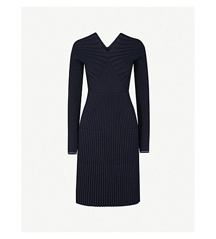 VICTORIA BECKHAM V-neck ribbed wool-blend dress (Dark+navy/oxford+blue