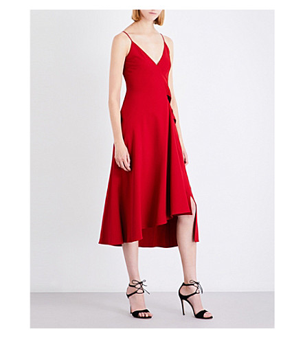 VICTORIA BECKHAM Waterfall-panel crepe dress (Red
