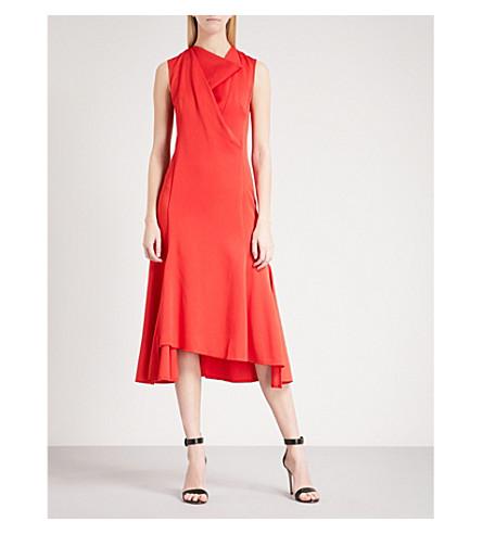 VICTORIA BECKHAM Cowl-neck sleeveless crepe midi dress (Red+candy