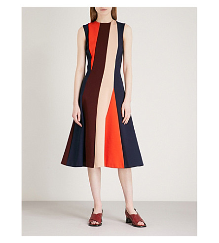 VICTORIA BECKHAM Panelled stretch-knit midi dress (Multi