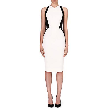 VICTORIA BECKHAM Contrast mesh-panel dress (Black/ white