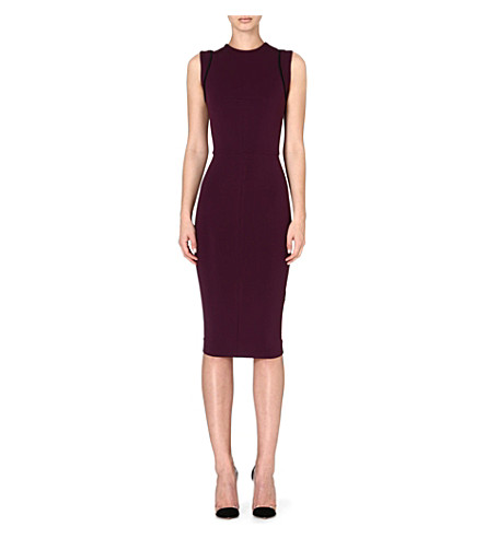 VICTORIA BECKHAM Crepe shift dress (Aubergine